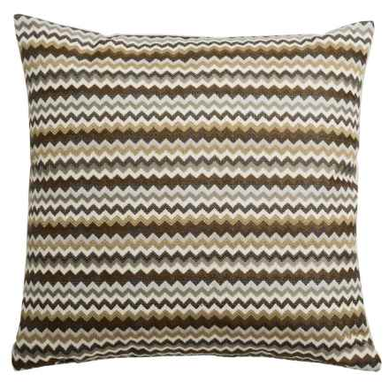 """Canaan Hiro Chenille Striped Decorative Pillow - 20x20"""", Feather-Down in Teak - Closeouts"""