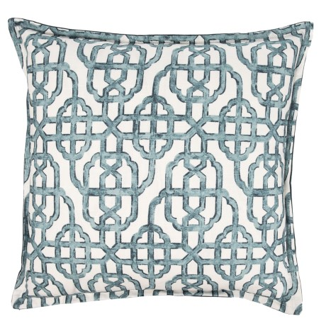 """Canaan Imperial Print Throw Pillow - 22x22"""", Feathers in Blue"""