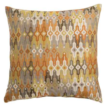 "Canaan Regla Multi-Pattern Decorative Pillow - 20x20"", Feather-Down in Saffron - Closeouts"