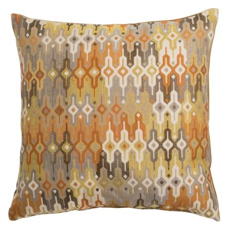 "Canaan Regla Multi-Pattern Decorative Pillow - 20x20"", Feather-Down in Saffron"