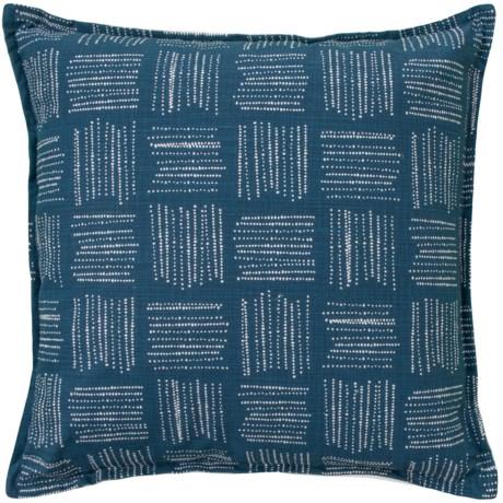 "Canaan Slub Contemporary Pattern Pillow - 22x22"", Feathers in Italian Denim"