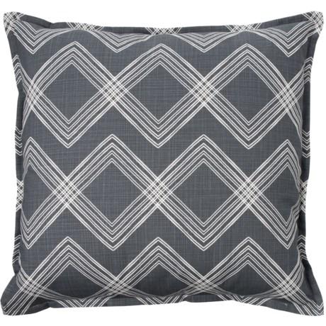 "Canaan Slub Diamond Pattern Throw Pillow - 22x22"", Feathers in Grey"