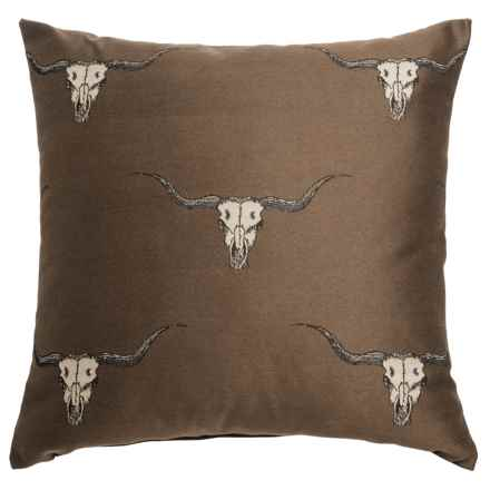 """Canaan Stampede Decorative Pillow - 24x24"""", Feather-Down in Brown - Closeouts"""