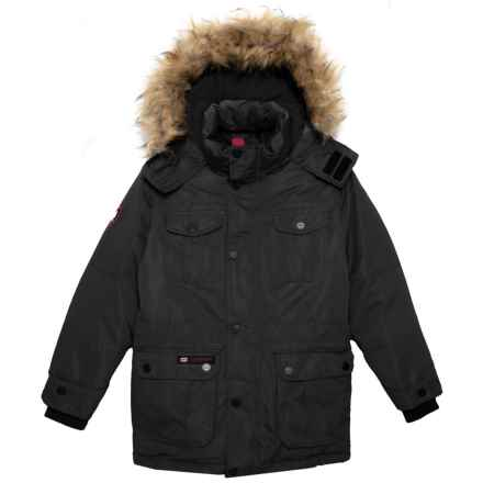 Canada Weather Gear Button Up Parka - Insulated (For Big Boys) in Black - Closeouts