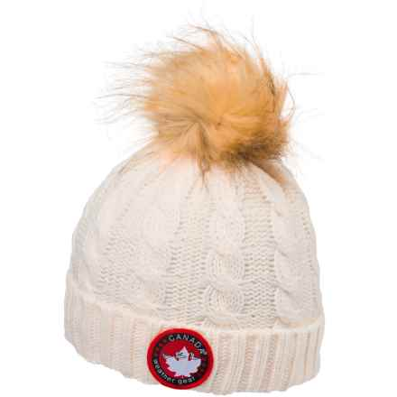 Canada Weather Gear Chunky Cable-Knit Pompom Beanie (For Kids) in Ivory - Closeouts