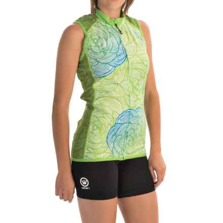 Canari Asha Cycling Jersey - UPF 30+, Full Zip, Sleeveless (For Women) in Ecto Green - Closeouts