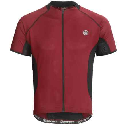 Canari Fusion Cycling Jersey - Full Zip, Short Sleeve (For Men) in Crimson - Closeouts
