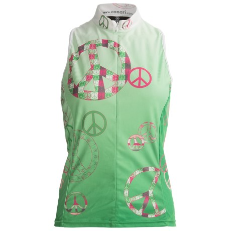 Canari Peace Out Cycling Tank Top - Deep Zip Neck (For Women)