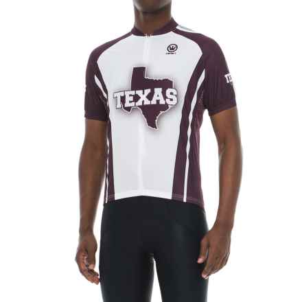 Canari Souvenir Texas Glory Cycling Jersey - Zip Neck, Short Sleeve (For Men) in Burgandy - Closeouts
