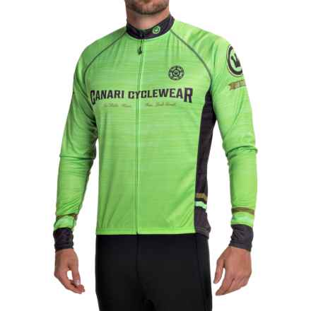 Canari Theon Cycling Jersey - UPF 30+, Full Zip, Long Sleeve (For Men) in Ecto Green - Closeouts