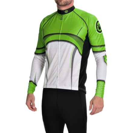 Canari Treader Cycling Jersey - Long Sleeve (For Men) in Ecto Green - Closeouts
