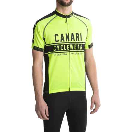 Canari Vista Cycling Jersey - Full Zip, Short Sleeve (For Men) in Killer Yellow - Closeouts