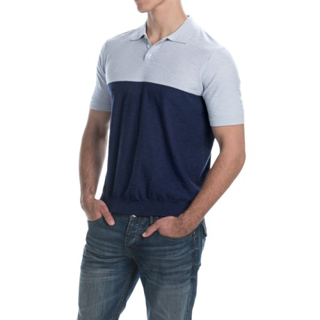 C/89men Color Block Polo Shirt Short Sleeve (For Men)