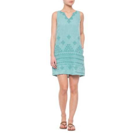 208c27bd72 C C California Cayman Bay Embroidered Linen Dress - Sleeveless (For Women)  in Cayman Bay
