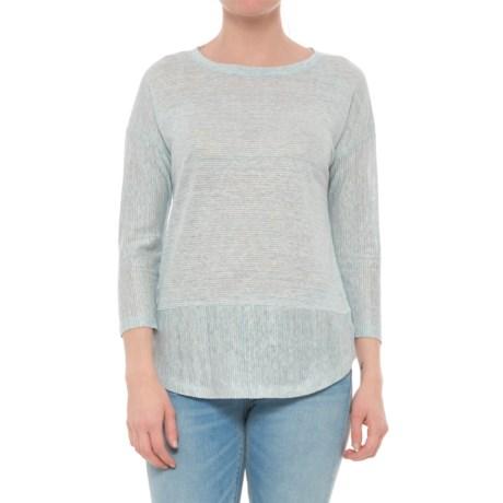 C&C California Drop Shoulder Striped Tunic Shirt - 3/4 Sleeve (For Women) in Sea Star Heather/Raw White