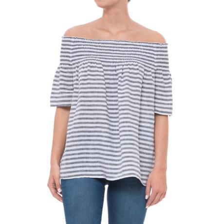 C&C California Dyed Stripe Off-the-Shoulder Smocked Shirt - Linen, Elbow Sleeve (For Women) in V Classic Stripe