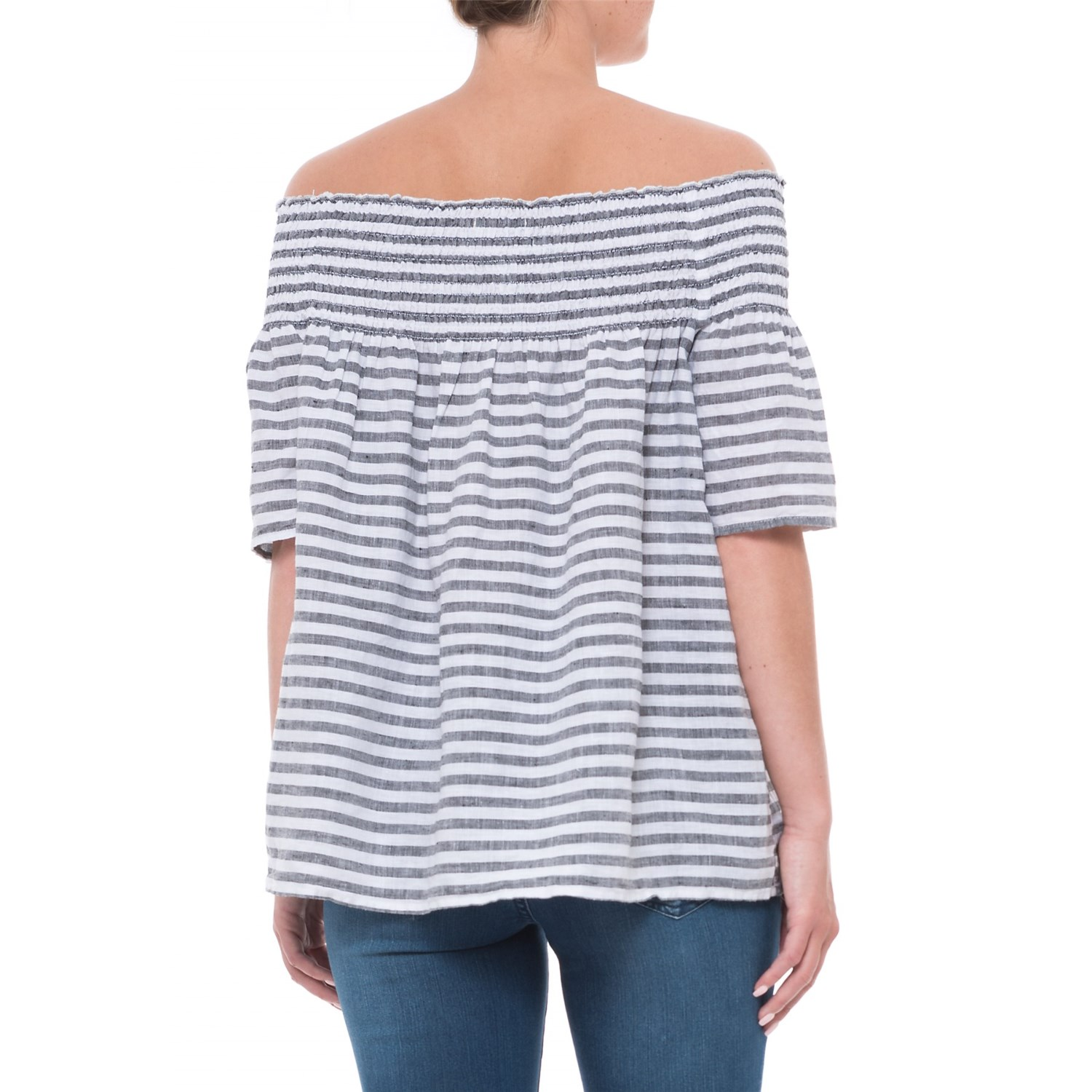 C&C California Dyed Stripe Off-the-Shoulder Smocked Shirt (For Women ...