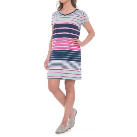 C&C California Engineered Stripe Dress - Short Sleeve (For Women) in Bayside Stripe Navy/Pink