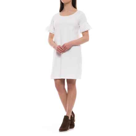C&C California Eyelet Ruffle Dress - Short Sleeve (For Women) in White - Closeouts