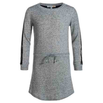 C&C California Lace-Trimmed Dress - Long Sleeve (For Big Girls) in Granite Grey Heather - Closeouts