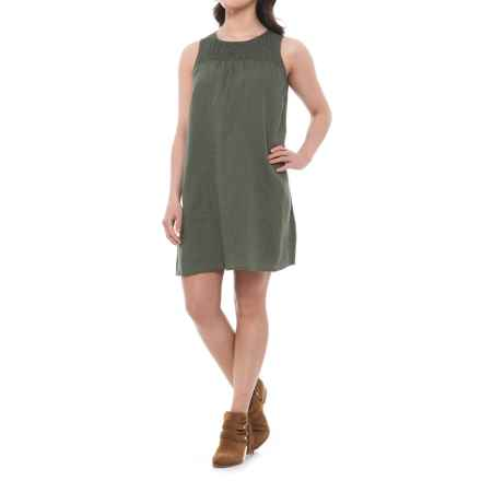 C&C California Linen Trapeze Dress- Sleeveless (For Women) in Clover - Closeouts