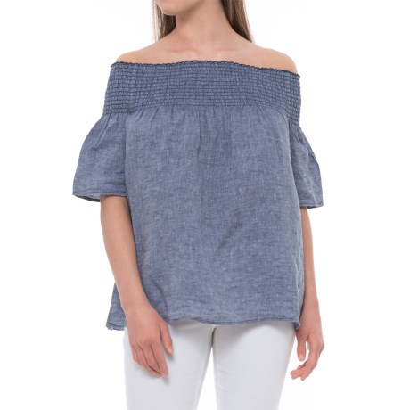 C&C California Off-the-Shoulder Smocked Shirt - Linen, Elbow Sleeve (For Women) in Indigo