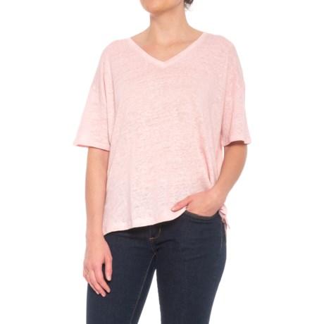 C&C California Oversized Drop Shoulder Shirt - V-Neck, Elbow Sleeve (For Women) in Skivvy Pink