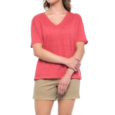 C&C California Oversized Drop Shoulder Shirt - V-Neck, Elbow Sleeve (For Women) in Tea Berry