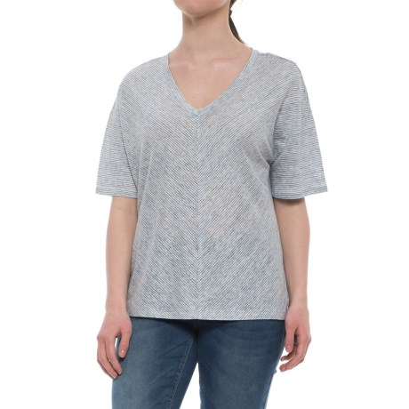 C&C California Oversized Drop Shoulder Striped Shirt - V-Neck, Elbow Sleeve (For Women) in Blue Heather/Raw White