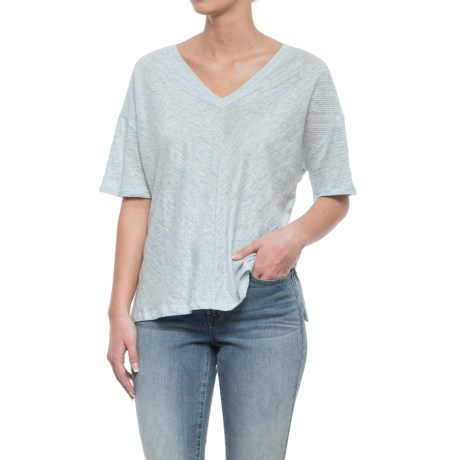 C&C California Oversized Drop Shoulder Striped Shirt - V-Neck, Elbow Sleeve (For Women) in Sea Star Heather/Raw White