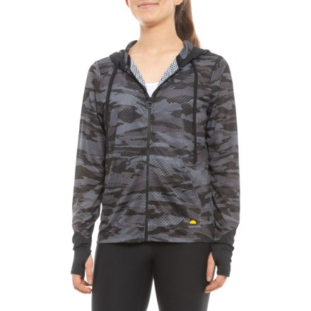 767a8b5a33 C&C California Printed Closed-Hole Mesh Hoodie (For Women) in Midnight Camo/