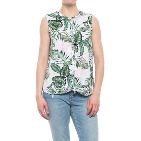 C&C California Printed Linen Shirt - Sleeveless (For Women) in Midnight Tropic