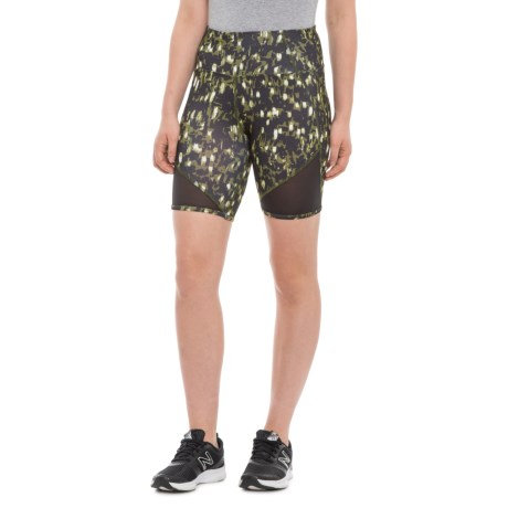 2553f8fcffdb C&C California Printed Mesh Blocked Bike Shorts (For Women) in Green Combo