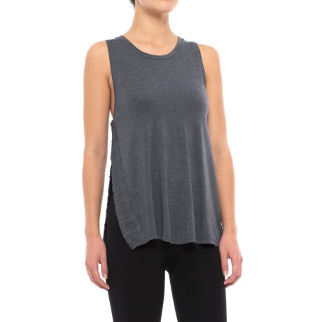 C&C California Side Slit Lounge Tank Top (For Women) in Heather Blue
