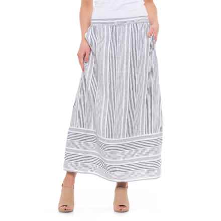 C&C California Striped Linen Skirt (For Women) in Navy Multi Stripe - Closeouts