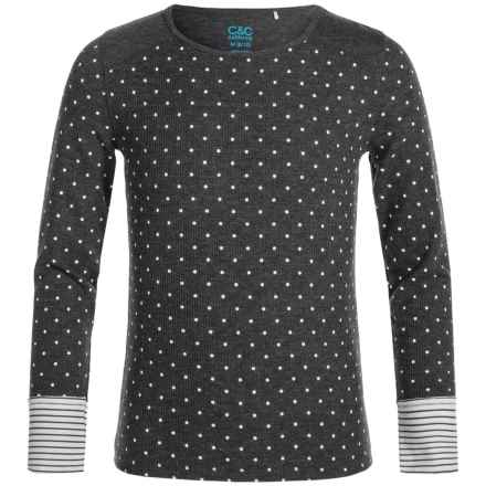 C&C California Thermal Printed Shirt - Long Sleeve (For Big Girls) in Charcoal - Closeouts