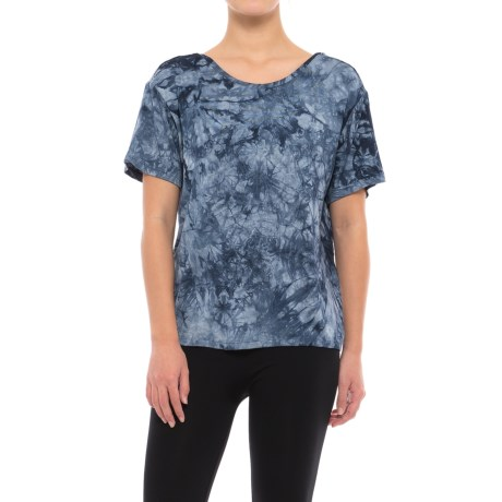 C&C California Tie-Dye Lounge Shirt - Built-In Bralette, Short Sleeve (For Women) in Medium Blue Tue Dye