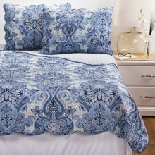 C&F Enterprises Danielle Quilt Set - Full-Queen in Navy Damask - Closeouts