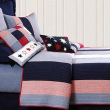 C&F Enterprises Patriotic Stripe Quilt - Full-Queen in Red, White, Blue - Closeouts