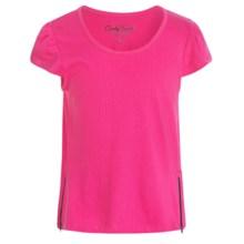 Candy Hearts by Hartstrings Zipper Pop Top T-Shirt - Short Sleeve (For Big Girls) in Fuschia - Closeouts