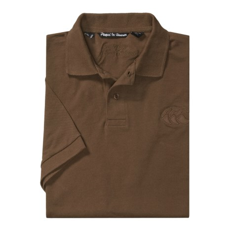 Canterbury of New Zealand Logo Polo Shirt - Twill Pique, Short Sleeve (For Men) in Umber Brown