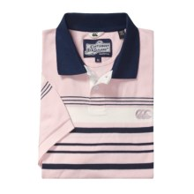 Canterbury Placement Stripe Polo Shirt - Short Sleeve (For Men) in Powder Pink - Closeouts