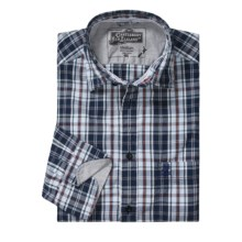 Canterbury Plaid Shirt - Contrasting Cuffs, Long Sleeve (For Men) in Navy - Closeouts