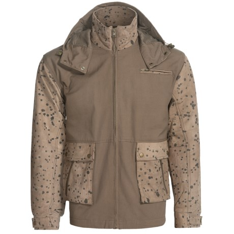 Canvas Jacket with Leather Trim (For Men) in Brown