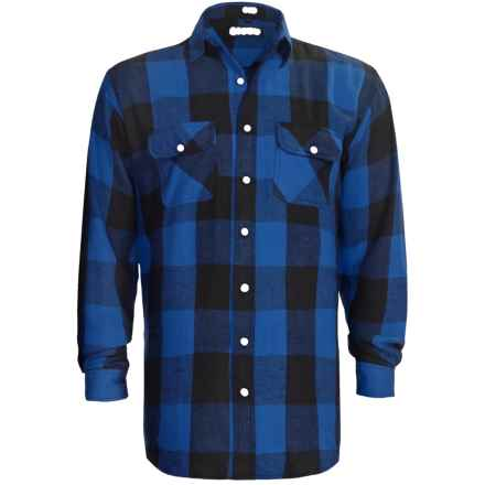 Canyon Guide Brawny Flannel Shirt - Long Sleeve (For Tall Men) in Blue - Closeouts