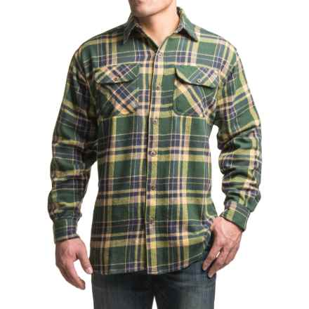 Canyon Guide Brawny Flannel Shirt - Long Sleeve (For Tall Men) in Olive Plaid - Closeouts