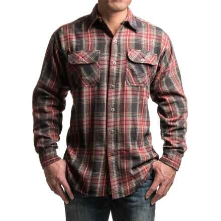 Canyon Guide Brawny Flannel Shirt - Long Sleeve (For Tall Men) in Red/Brown Plaid - Closeouts