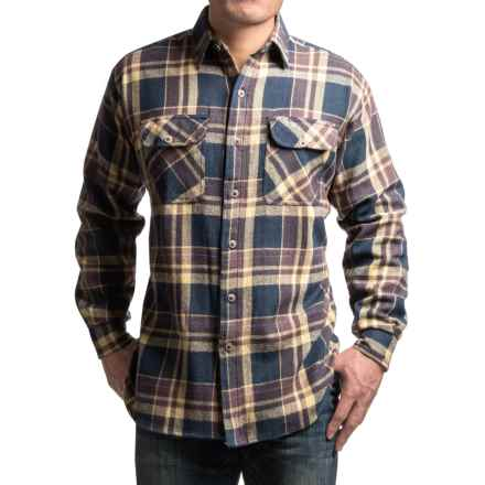 Canyon Guide Brawny Flannel Shirt - Long Sleeve (For Tall Men) in Tan Plaid - Closeouts
