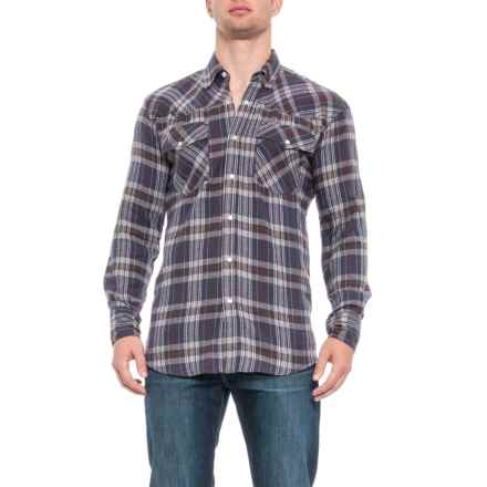 Canyon Guide Outfitters Canyon Guide Flatlands Western Flannel Shirt - Snap Front, Long Sleeve (For Men) in Blue/Brown Plaid - Closeouts
