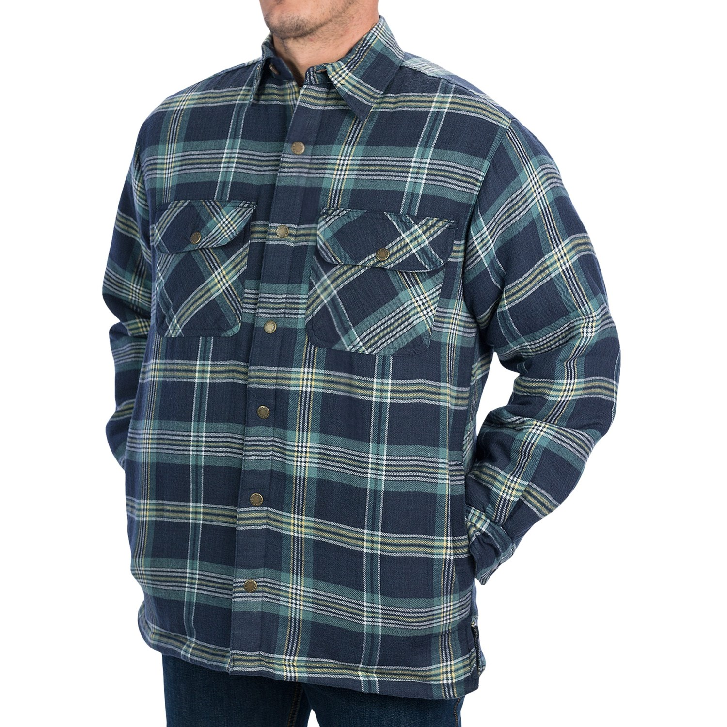 Canyon guide snake river flannel shirt insulated long for Mens insulated flannel shirts